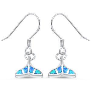 Whale Tail Earrings Lab Blue Opal Sterling Silver